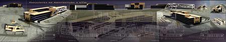 comercial: project of conceptual comercial building, 3d views and blueprints Stock Photo