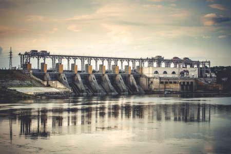 hydro power: photo of hydro Power Station,dam,sunrise, background Stock Photo