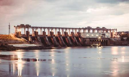 hydro power: blur or defocus image of hydro Power Station, dam, sunrise, background