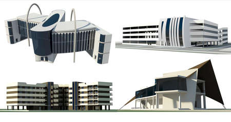 multi story car park: Set of 4 modern conceptual buildings:  - 1 residential buildings - 1 commercial buildings - 1 multi story car park - 1 ship shaped restaurant