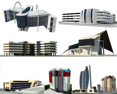 multi story: Set of 8 modern conceptual buildings:  - 3 residential buildings - 1 business centre - 2 commercial buildings - 1 multi story car park - 1 ship shaped restaurant Stock Photo