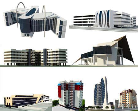 multi story car park: Set of 8 modern conceptual buildings:  - 3 residential buildings - 1 business centre - 2 commercial buildings - 1 multi story car park - 1 ship shaped restaurant Stock Photo