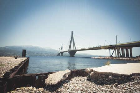 strait: suspension bridge crossing Corinth Gulf strait, Greece.