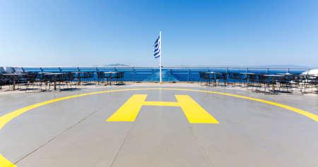 heliport: Helipad aka Landing Place for Helicopters on a Ship, Zakynthos Island, Greece