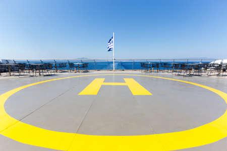 helipad: Helipad aka Landing Place for Helicopters on a Ship, Zakynthos Island, Greece