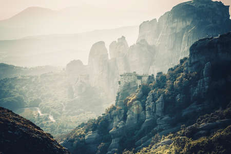 meteors: Meteors monasteries in Greece in high mountains on the sunset, background Stock Photo