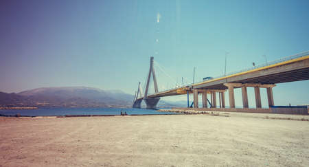 the gulf: suspension bridge crossing Corinth Gulf strait, Greece.