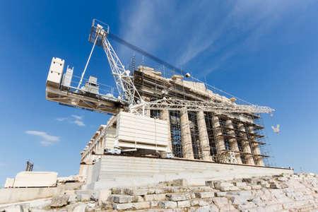 Imagen de fondo de reconstrucción del Partenón en la Acrópolis, Atenas, Grecia Foto de archivo