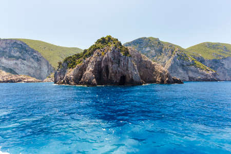 ionian: Cruise around Zakynthos, views from the sea on the island, Greece, background.