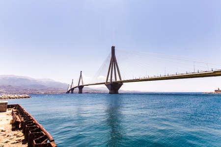 suspension bridge crossing Corinth Gulf strait, Greece.