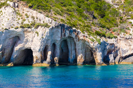 ionian: Blue sea caves on Zakynthos island, Greece, with crystal clear waters