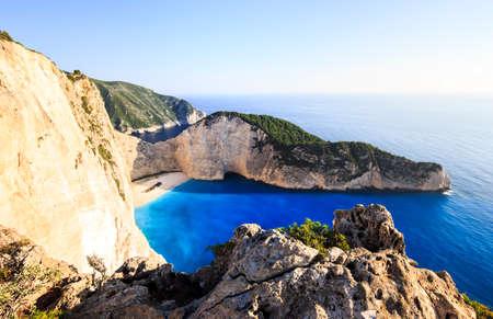 ionian: Amazing Navagio beach with shipwreck on Zakynthos island. Ionian sea, Greece.