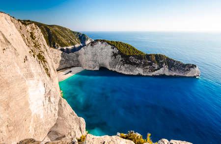swimm: Amazing Navagio beach with shipwreck on Zakynthos island. Ionian sea, Greece.