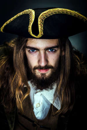 Portrait of a medieval bearded pirate on black background. 免版税图像 - 66328167