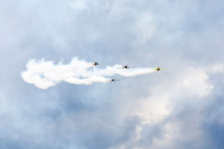 pilotage: air show, small planes allowed smoke in the air showing the air acrobatics Stock Photo