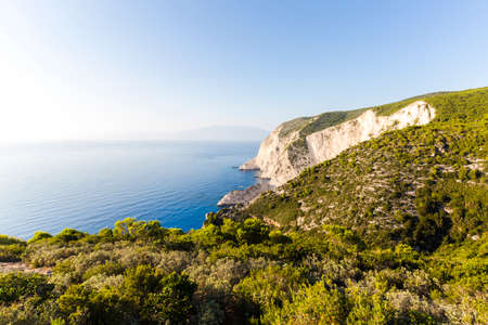 Beautiful blue sea and cliffs near Navagio Beach in Zakynthos, Greece