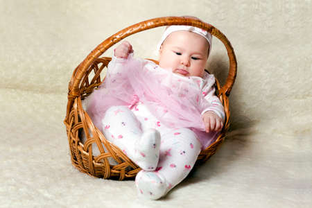 a33d00f615e76 chubby little cute girl in a basket on a background of white fluffy rug  Stock Photo