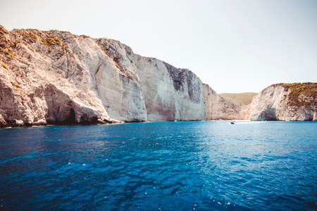 ship wreck: Amazing landscape of Navagio beach with shipwreck on Zakynthos island, view from the cruise ship. Greece.