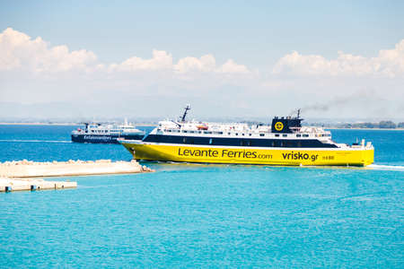07 july 2016. Departure of yellow, high-end ferry to the island of Zakynthos, Greece Editorial