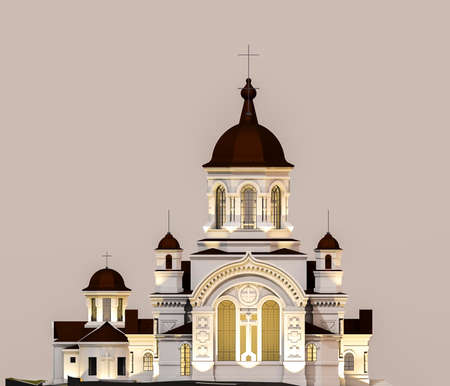 3d ilustration of beautiful orthodox church. Facade view Stock Photo
