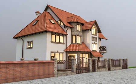 suburban: 3d ilustration of beautiful modern detached house in country style. Stock Photo