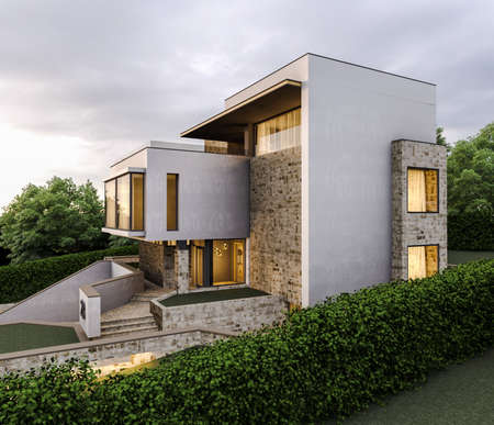 Conceptual renders of modern minimalism private house. 3d illustration Stock Photo