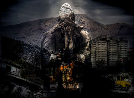 Creative dark poster of a man in gas mask with apocalyptic disaster on background, apokalypse day. survival in tha hood