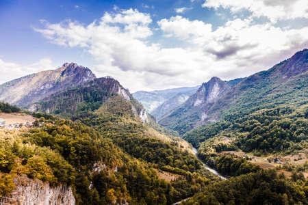 Delightful, colorful mountain landscape. View of the Tara River, Montenegro