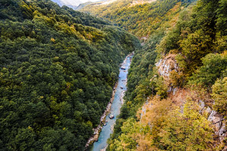 View from the Djurdjevic bridge to the Tara cone, a beautiful mountain landscape Stock Photo