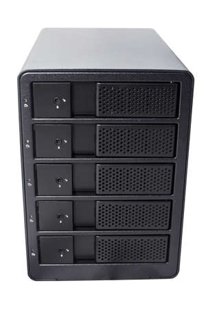 Multiple hard drive external enclosure, a storage raid array isolated on white background