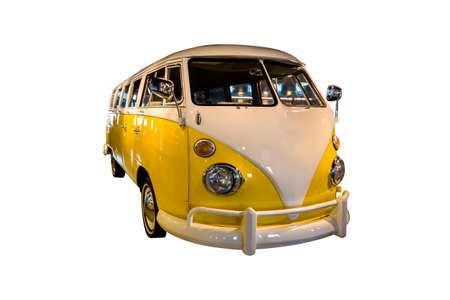 yellow white retro microbus isolated on white background