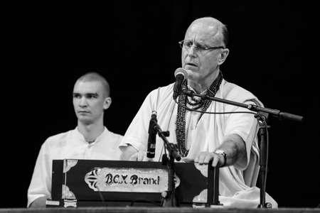 19 june 2015 Speech by Guru Indradyumna Swami, black and white photo,  Chisinau, Moldova