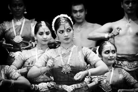 19 june 2015 Indian dance group Sankhya, black and white photo,  Chisinau, Moldova