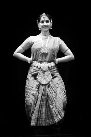 19 june 2015, Indian dancer on stage, black and white photo,  Chisinau, Moldova Editorial