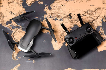 drone dji mavic air and control panel, on a geographical map