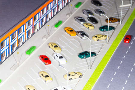 21 march 2018 parking with lots of cars and a mall shopping center, close-up, exhibition moldrconstruct, Chisinau, Moldova Stock Photo