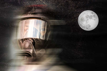 Dummy in overalls for the pilots of fighters, close-up of face in mask and helmet, with place for text, against the background of a starry sky with a full moon