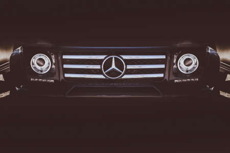 9 april 2018 The Mercedes-Benz G-Class G 500 4x4² f ront bumper and headlights background image of a black car, toned photo, Chisinau, Moldova