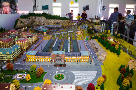 14 april 2018 unidentified people at an exhibition of a toy city with a railway and trains Chisinau, Moldova Editorial