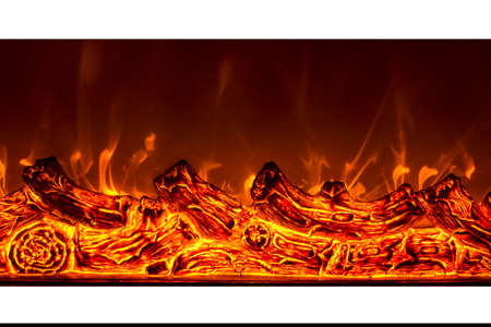 electric fire close up, background color image, horizontal photo