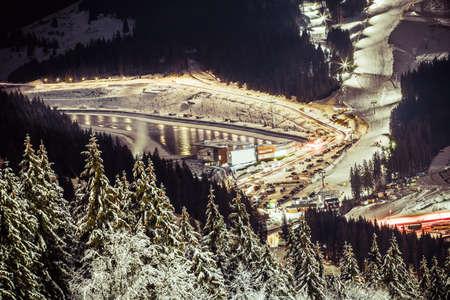 snowy view of winter ski resort, background image, Bukovel, Ukraine