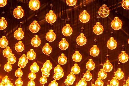 Included lights hanging from the ceiling, toned background image Banco de Imagens