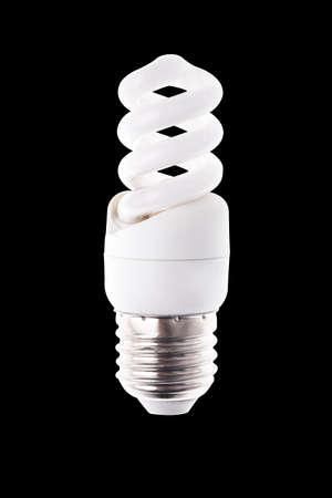 spiral light bulb on black background Standard-Bild - 116209964