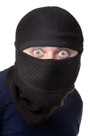 man in balaclava isolated on white background