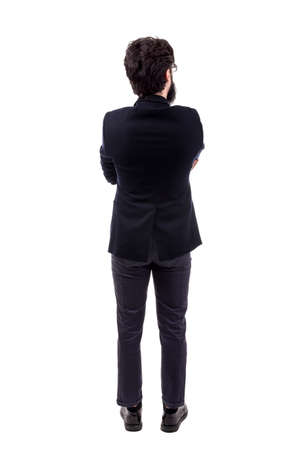 full length portrait of  bearded businessman,  back view, isolated on white background