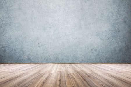 ściana z laminatu i betonu, widok pustego pokoju