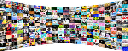 Collection of images, a collage of colorful stock photos on various topics, web background