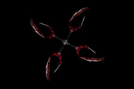 glasses of red wine spill over black background Banque d'images - 124900833