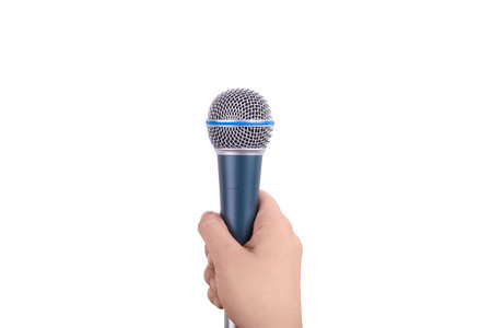 hand holding microphone for the interview, isolated on white background Stock Photo