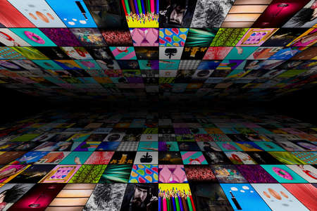 Abstract multimedia background made from multiple colorful images
